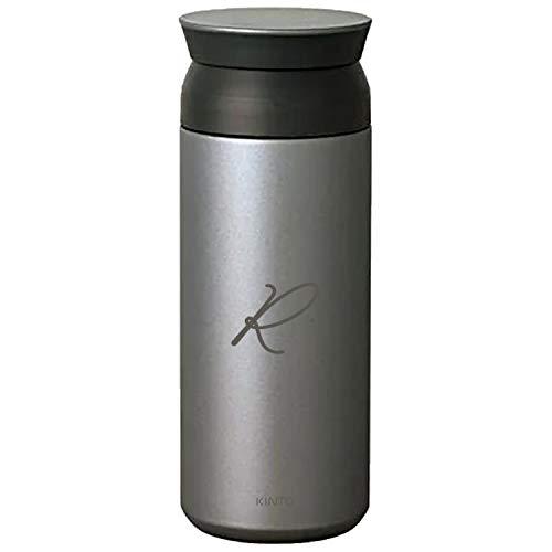 [名入れ無料] KINTO トラベルタンブラー 500ml キントー タンブラー 水筒 保温 保冷 真空二重構造 オシャレ マイボトル ギフト プレゼント (シルバー, 【ボトル】イニシャル(ドット))