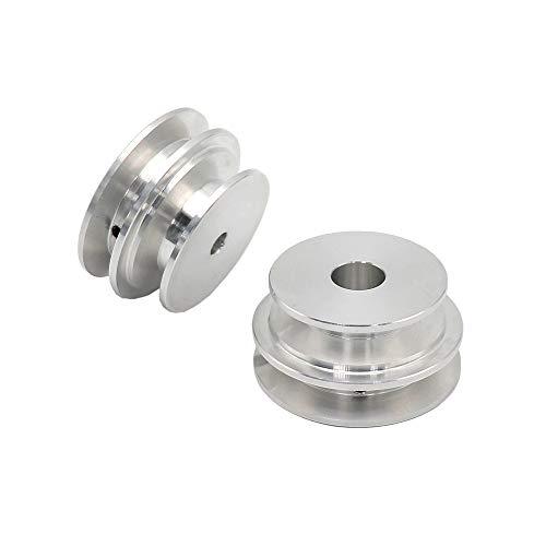 Puleggia a doppia scanalatura 50/60MM in lega di alluminio 8-20MM puleggia con foro fisso per albero motore (8MM)