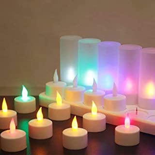 SumoTik 12PCS Rechargeable Colorful Flameless Flickering Tea Candle + Holder UK Plug AC220V, Holiday Lights Candle Lights, (UK plug)