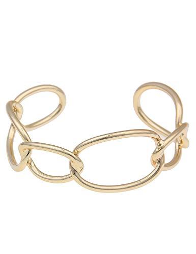 Leslii goldenes Damen-Armband Goldener Armreif Glieder Oval Statement-Armband Armschmuck Modeschmuck Größe 19cm in Gold