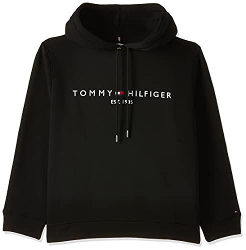 Tommy Hilfiger Damen Th ESS Hilfiger Hoodie Ls Sweatshirt, Schwarz (Black Bds), 38 (Herstellergröße: Large)