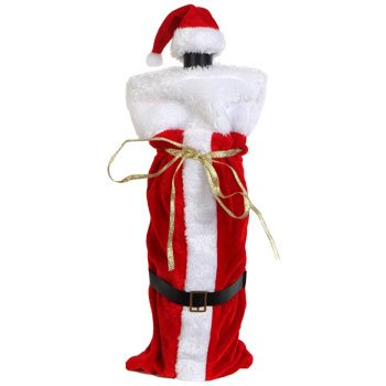 Santa Suit with Hat Wine Bottle Bag