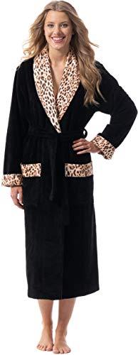 Morgenstern Damen Bademantel mit Schalkragen Schwarz Flauschig Sexy Tierfell Größe XS