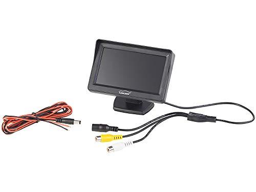 Lescars Rückfahrt Kamera: Farb-Rückfahrkamera im Nummernschildhalter m. Monitor & Abstandswarner (PDC)