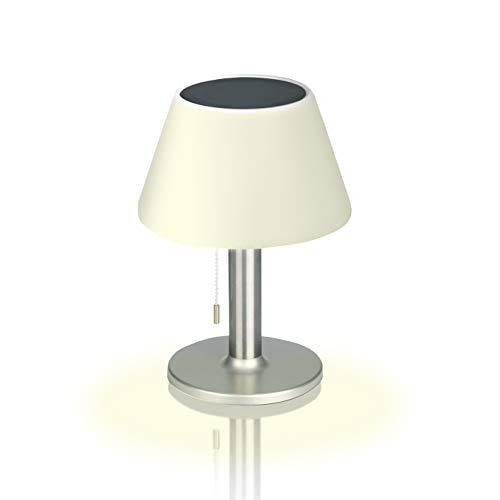 EASYmaxx LED Solar Tischlampe In- & Outdoor | Je nach Helligkeitsstufe zwischen 4-8 StundenLeuchtdauer | Warmweißes LED-Licht [Silber]