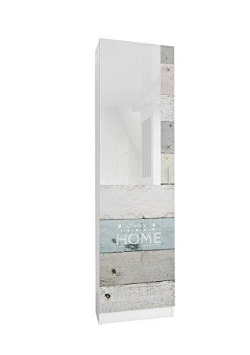 Abitti Zapatero recibidor Blanco con Espejo 180cm, con serigrafia Home