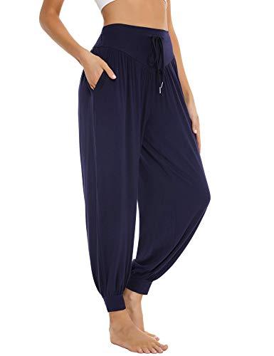Sykooria Pantalon Sarouel Femme pour Pilate Hippie Yoga Fitness Danse Sport Taille Haute Bouffant Pants,Bleu Foncé,L