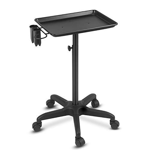 johgee Premium Aluminum Salon Tray Cart Adjustable Height Storage Tray W/Accessory Caddy Aluminum Mobile Utility Trolley Tool Holder (Black)