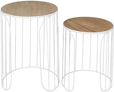 HOME DECO FACTORY HD7205 Home Deco Factory-HD7205-Table Gigogne Filaire Ana X2 Appoint Salon, Blanc-Bois, 40x50x40 cm