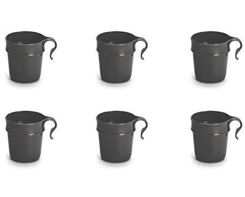 Nordiska Plast - 6 vasos de plástico con asa de 300 ml - Gris - Tazas - Tazas de plástico - Tazas de café - Tazas de café - Taza de camping de plástico reutilizable - Sin BPA - Fabricado en Suecia