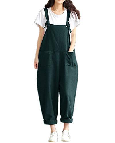 Style Dome Latzhose Damen Retro Träger Lange Sommerhose Lange Overall Jumpsuit Playsuit mit Taschen Grün-576509 5XL