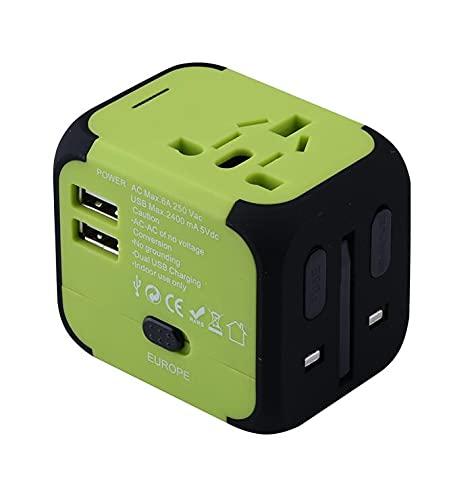 Enchufe eléctrico Adaptador de Enchufe de energía Viaje Internacional Cargador Universal Convertidor UE EEUU EEUU EEUU AU, 2 USB Cargando 2.4A LED, Liqingshangmao