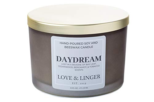 Tobacco Scented Candle   Bay Leaf Candle   Luxury Soy & Beeswax Candles for Home   16 oz. Large Jar 3 Wick Candle   Manly Candles for Men   Masculine Candle