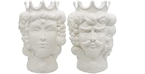 sicilia bedda - Teste di Moro in Ceramica di Caltagirone White Edition - Prodotto 100% Artigianale - Altezza Cm. 35 - Altissima qualità