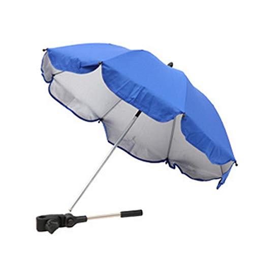 GeKLok 1 paquete de sombrilla para cochecito de bebé con abrazadera de fijación ajustable (azul)