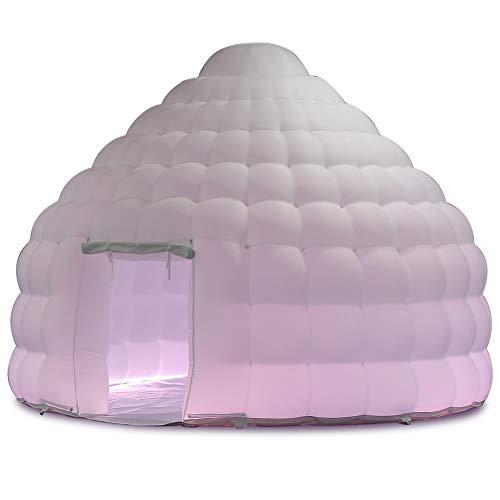 SAYOK Aufblasbares Iglu-Kuppelzelt mit Luftgebläse und PVC-Bodenmatte, LED, aufblasbares Haus, Jurte, Zelt für Veranstaltung/Party/Hochzeit/Show/Ausstellung