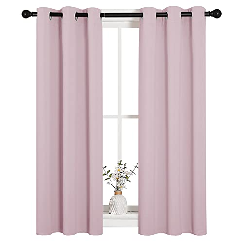 NICETOWN Blackout Curtain Panels for Girls Room, Nursery Essential Thermal Insulated Solid Grommet Top Blackout Drapes (Baby Pink=Lavender Pink, 1 Pair, 29 x 45 Inch)