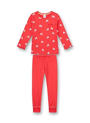 Sanetta Mädchen Schlafanzug lang rosa Pyjamaset, Coral pink, 104