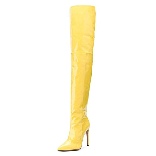 FSJ Women Fashion Pointed Toe Stiletto Heel Thigh High Over The Knee Boots Pull On Side Zipper Patent Leather Winter Shoes Size 8.5 Yellow