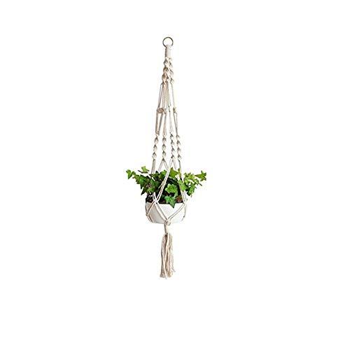 Nigoz - Portavaso in iuta naturale da 1 m, in corda di macramè, con anello portachiavi per interni, esterni, balcone, decorazione a soffitto, 4 gambe, piccolo comodo e pratico, di buona qualità