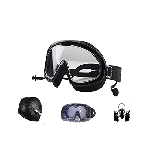Ancaiqi Gafas de natación 3.0 Anti-vaho protección UV Sin Fugas visión Clara Marco grande Gafas para Nadar con Clip de Nariz Enchufe de oído Gorro de baño para Hombres Mujeres