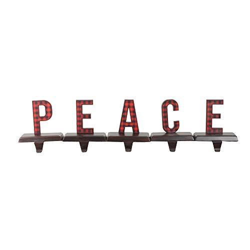 "Northlight 5 Piece Set Red and Black Buffalo Plaid ""Peace"" Christmas Stocking Holder 6"
