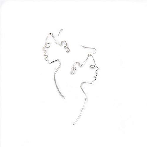 LJSLYJ Weißes Gesicht Baumeln Draht Ohrringe Mädchen Artsy Umriss Lange Ohrringe Für Frauen
