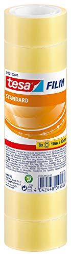 tesafilm standard - Transparentes Multifunktions-Klebeband für Heim- Schul- und Büroanwendungen - 10 m x 19 mm - 8er Pack