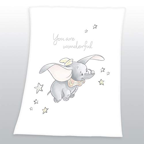 Herding Disney's Dumbo Soft-Peachdecke, Polyester, weiß, 75 x 100 cm