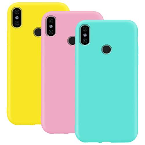 Coque en Silicone pour Xiaomi Mi A2 / Mi 6X, Misstars Ultra Mince Souple TPU Gel Mat Bumper Doux Léger Anti Rayure Antichoc Housse Étui de Protection pour Xiaomi Mi A2 / Mi 6X, Jaune + Rose + Bleu