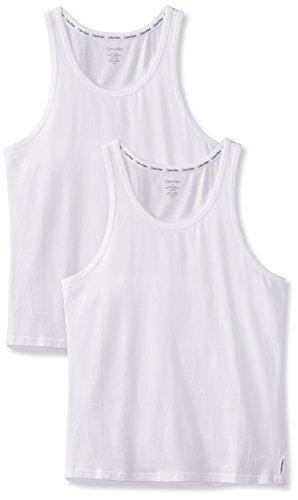 Calvin Klein 2p Tank Camiseta sin Mangas, Blanco (Blanco 100), M para Hombre