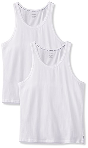 Calvin Klein Herren Top 2P TANK, Gr. Medium, Weiß (WHITE 100)