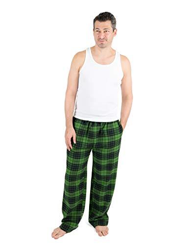 Leveret Mens Pajama Pants Cotton Flannel Sleep Pj Bottoms Black & Green Plaid (Size Large)