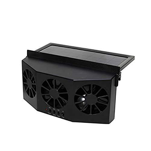 SHKY Ventilador para Autos - Ventilador para automóviles con energía Solar, Tres Campanas Ventilador de Escape Radiador Desuperheater Solar para Autos, para Tipos Generales de Autos,Black