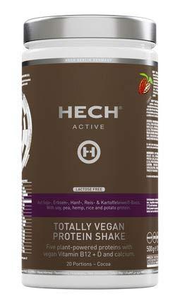 HECH ACTIVE Totally Vegan Protein Shake Kakao, pflanzliches Eiweißpulver, mit veganen Vitaminen B12, D & Calcium, extra cremige Konsistenz, laktosefrei, 500 g