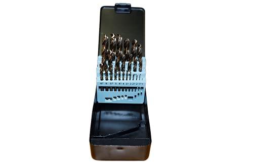Ferrcan Juego de brocas para metal de 25 piezas 1-13mm HSS DIN 338 M35 cobalto de uso profesional