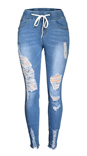 Aodrusa Womens Ripped Jeans Distressed with Drawstring Elastic Waist Stretch Skinny Pants Ankle Length Light Blue US 12-14