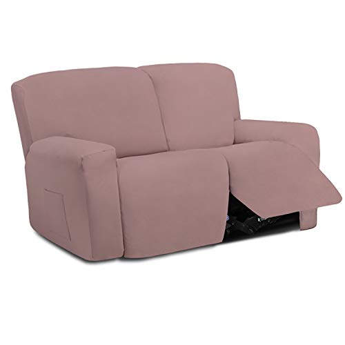 Easy-Going 6 Pieces Microfiber Stretch Sectional Recliner Sofa Slipcover Soft Fitted Fleece 2 Seats Couch Cover Washable Furniture Protector with Elasticity for Kids Pet(Recliner Loveseat, Pink)