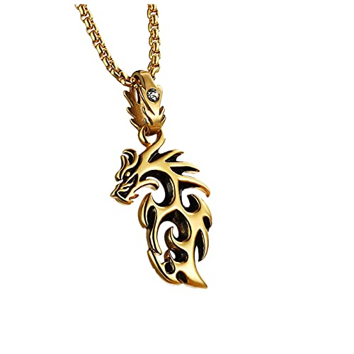 Necklace,Men Necklace Personality Pendant Neck Chain Fashion Long Chain Accessories Gift (Golden)