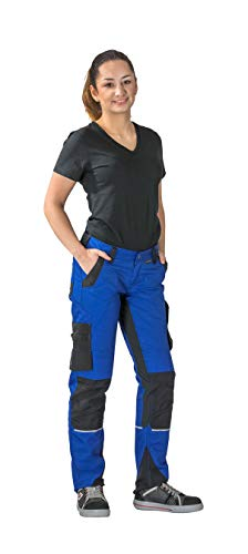 Planam Norit Damen Bundhose, Farbe: Kornblau/Schwarz, Größe: 38