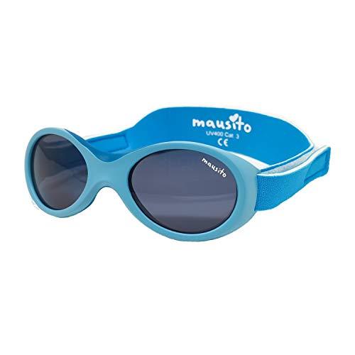 Mausito® BABY Sonnenbrille 0-1,5 Jahre Jungen I biegsame Sonnenbrille für Kleinkinder I 100% AUGEN UV SCHUTZ I größenverstellbares Band I WEICHER NASENBÜGEL I Cool flexible Baby sunglasses I Blau