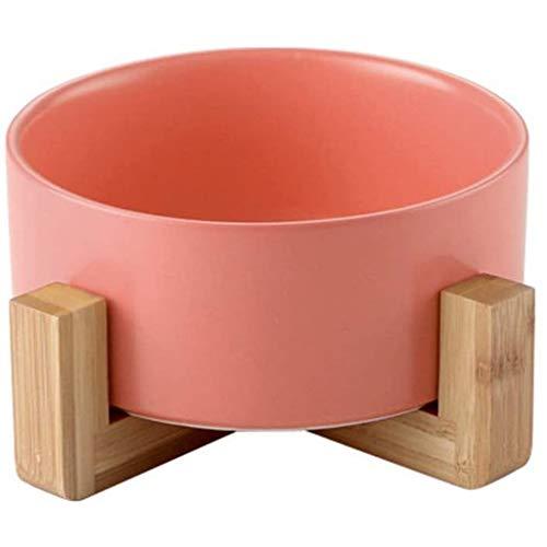 WWXX Bol Perro De Cerámica Set,Ceramica Comedero Perro Y Comedero Gato con Soporte De Bambú Y Madera,Adecuado para Perros Y Gatos Pequeños Y Medianos(850 Ml) (Color : Pink)