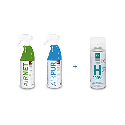 Recamania AIRNET + AIRPUR Pulverizadores Limpiador y Elimina Olores Aire Acondicionado 750 ml + Regalo Desinfectante de Superficie H-100%