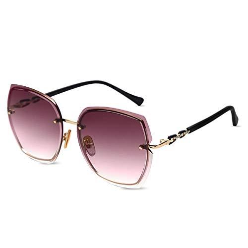 LumiSyne Randlos Sonnenbrille Damen Diamant Schneiden Transparente Verlaufsgläser Strasssteine Verziert Rahmen UV400 Übergroß Sonnenbrille Rahmenlos(Violett)