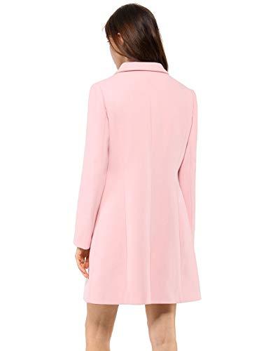 Allegra K Women's Notched Lapel Winter Coat-Light Pink