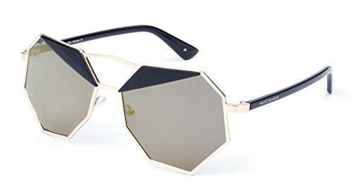 "PRIVE REVAUX ""The Activist"" Handcrafted Designer Geometric Polarized Sunglasses (Black/Silver)"