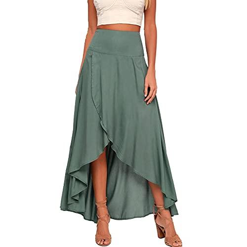Falda irregular con cintura alta y columpio ancho