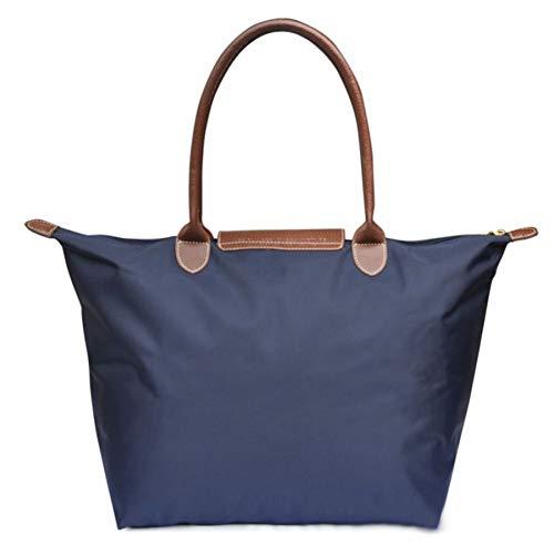 Women's Stylish Waterproof Tote Bag Nylon Travel Shoulder Beach Bags (Medium, Blue)