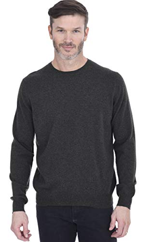 Cashmeren Men's Basic Crewneck Sweater 100% Pure Cashmere Long Sleeve Round Neck Pullover (Charcoal, X-Large)