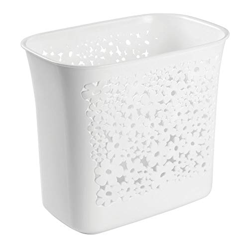 mDesign Decorative Oval Trash Can Wastebasket Garbage Container Bin for Bathrooms Powder Rooms Kitchens Home Offices - Flower Design - White